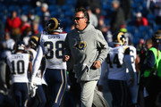 Head coach Jeff Fisher of the Los Angeles Rams walks on the field before the game against the New England Patriots at Gillette Stadium on December 4, 2016 in Foxboro, Massachusetts.