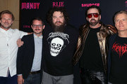 """(L-R) Josh C. Waller, Elijah Wood, Panos Cosmatos, Nicolas Cage and Linus Roache attend the Los Angeles special screening and Q&A of """"Mandy"""" at Beyond Fest at the Egyptian Theatre on September 11, 2018 in Hollywood, California."""