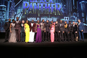 (L-R) Actors Sterling K. Brown, Letitia Wright, Winston Duke, Martin Freeman, Angela Bassett, Daniel Kaluuya, Lupita Nyong'o, Chadwick Boseman, Michael B. Jordan, Danai Gurira, Andy Serkis, and Forest Whitaker; writer/director Ryan Coogler; Marvel Studios President Kevin Feige; producers Louis D'Esposito and Victoria Alonso, and executive producer Nate Moore at the Los Angeles World Premiere of Marvel Studios' BLACK PANTHER at Dolby Theatre on January 29, 2018 in Hollywood, California.