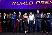 """Director Anthony Russo, Mark Ruffalo, Chris Evans, Robert Downey Jr., Scarlett Johansson, Jeremy Renner, Chris Hemsworth, Executive producer Jon Favreau, and President of Marvel Studios/Producer Kevin Feige speak onstage during the Los Angeles World Premiere of Marvel Studios' """"Avengers: Endgame"""" at the Los Angeles Convention Center on April 23, 2019 in Los Angeles, California."""