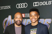 "Jeffrey Wright (L) and Elijah Wright attend the Los Angeles World Premiere of Marvel Studios' ""Avengers: Endgame"" at the Los Angeles Convention Center on April 23, 2019 in Los Angeles, California."