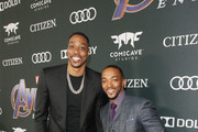 """Dwight Howard (L) and Anthony Mackie attend the Los Angeles World Premiere of Marvel Studios' """"Avengers: Endgame"""" at the Los Angeles Convention Center on April 23, 2019 in Los Angeles, California."""