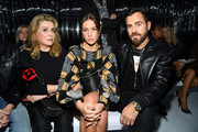 (L-R) Catherine Deneuve, Adèle Exarchopoulos and Justin Theroux attend the Louis Vuitton show as part of the Paris Fashion Week Womenswear Spring/Summer 2019 on October 2, 2018 in Paris, France.