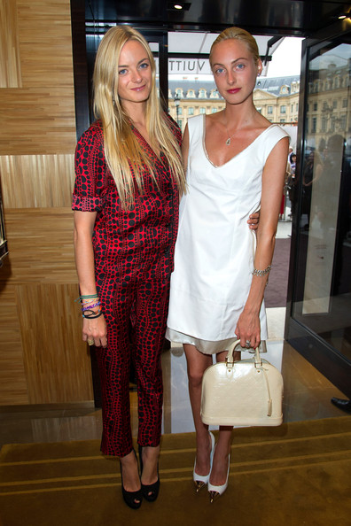 Virginie Courtin-Clarins and Claire Courtin-Clarins attend the Louis Vuitton new boutique opening as part of Paris Haute-Couture Fashion Week Fall / Winter 2012/13 at Place Vendome on July 3, 2012 in Paris, France.