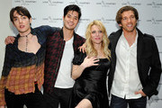 (L-R) Eric Brown, Ross Butler, Courtney Love and James Norley attend Love, Courtney by Nasty Gal launch party at Nasty Gal on January 13, 2016 in Los Angeles, California.