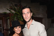 Actors Emmanuelle Chriqui and Pablo Schreiber attend For Love and Lemons annual SKIVVIES party co-hosted by Too Faced and performance by The Shoe at The Carondelet House on July 31, 2014 in Los Angeles, California.