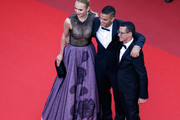 """Football player Hatem Ben Arfa (C) and guests attend the """"Loving"""" premiere during the 69th annual Cannes Film Festival at the Palais des Festivals on May 16, 2016 in Cannes, France."""