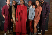 "Alexander Hodge, Yvonne Orji, Issa Rae, Prentice Penny, Elaine Welteroth and Jay Ellis pose at the Lowkey ""Insecure"" Dinner presented by Our Stories to Tell at Firewood on January 25, 2020 in Park City, Utah."
