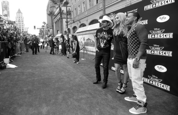 'Planes: Fire & Rescue' Premieres in Hollywood [planes: fire rescue,image,white,black,photograph,people,monochrome,black-and-white,snapshot,standing,crowd,urban area,red carpet,artists,ludacris,brad paisley,kesha,l-r,disney,world premiere]