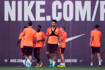 Luis Suarez FC Barcelona Training Session and Press Conference