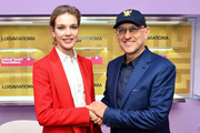 Natalia Vodianova and Andrea Panconesi (R) attend LuisaViaRoma and Naked Heart Foundation Press Conference on January 09, 2019 in Florence, Italy.