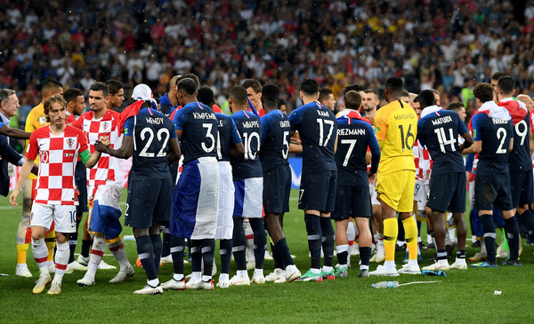 France v Croatia - 2018 FIFA World Cup Russia Final [player,sports,team,team sport,ball game,football player,sport venue,championship,soccer player,tournament,players,hands,russia,croatia,moscow,luzhniki stadium,france,2018 fifa world cup,final,croatia - 2018 fifa world cup]