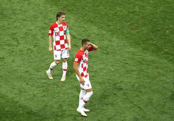 France v Croatia - 2018 FIFA World Cup Russia Final [sport venue,soccer player,player,football player,stadium,soccer-specific stadium,green,team sport,grass,football,luka modric,marko pjaca,russia,croatia,moscow,luzhniki stadium,france,2018 fifa world cup,final,croatia - 2018 fifa world cup]