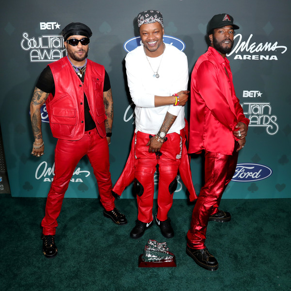 BET Presents: 2019 Soul Train Awards -  Backstage And Audience [red,fashion,outerwear,footwear,suit,carpet,fashion design,performance,flooring,shoe,audience,luke james,ro james,bj the chicago kid,backstage,l-r,las vegas,nevada,bet,bet presents: 2019 soul train awards]