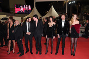 """Stephania Cristian, two guests, Luka Isaac, Mica Arganaraz, Karl Glusman and Abbey Lee attend the screening of """"Lux Aeterna"""" during the 72nd annual Cannes Film Festival on May 18, 2019 in Cannes, France."""