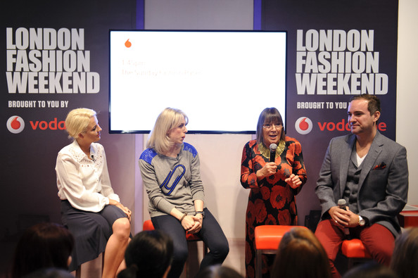 Vodafone London Fashion Weekend Hosted By Nick Ede With Hillary Alexander, Lydia Bright And Olivia Rubin In The Vodafone VIP Lounge