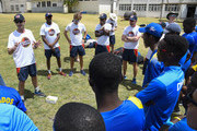 John Stephenson (L), Daniel Bell-Drummond (2L), John Simpson (3), Fidel Edwards (4L) and Paul Collingwood (5L) during the MCC Champion County Training and School Visit at Combermere on March 26, 2018 in Bridgetown, Barbados.