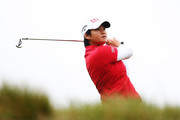 Yani Tseng of China tees off during day two of the New Zealand Women's Open at Windross Farm on September 29, 2017 in Auckland, New Zealand.