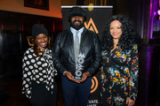 June Sarpong, Kanya King and Gregory Porter during the MOBO Outstanding Achievement Award announcement at Gresham Centre on November 7, 2017 in London, England.