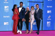 (L-R) Guest, Nathan Henry, Chloe Ferry, Sophie Kasaei and Sam Gowland attend the MTV EMAs 2018 at Bilbao Exhibition Centre on November 4, 2018 in Bilbao, Spain.