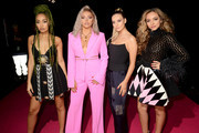 (L-R) Leigh-Anne Pinnock, Jesy Nelson, Perrie Edwards and Jade Thirlwall of Little Mix attend the MTV EMAs 2018 at the Bilbao Exhibition Centre (BEC) on November 04, 2018 in Bilbao, Spain.