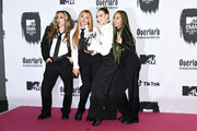 (L-R) Jade Thirlwall, Jesy Nelson, Perrie Edwards and Leigh-Anne Pinnock of Little Mix pose at the MTV EMAs 2018 studio at Bilbao Exhibition Centre on November 4, 2018 in Bilbao, Spain.
