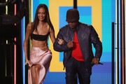 Joan Smalls and Sway Calloway present the Best Rock Award on stage during the MTV EMAs 2019 at FIBES Conference and Exhibition Centre on November 03, 2019 in Seville, Spain.