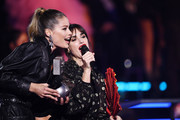 Doutzen Kroes and Paz Vega on stage to present the Best Hip Hop Award during the MTV EMAs 2019 at FIBES Conference and Exhibition Centre on November 03, 2019 in Seville, Spain.