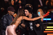 Joan Smalls and Sway Calloway present Billie Joe Armstrong of Green Day with the Best Rock Award on stage during the MTV EMAs 2019 at FIBES Conference and Exhibition Centre on November 03, 2019 in Seville, Spain.