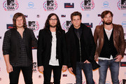 (L-R) Musicians Matthew Followill, Nathan Followill, Jared Followill and Caleb Followill of Kings of Leon attend the MTV Europe Awards 2010 at the La Caja Magica on November 7, 2010 in Madrid, Spain.