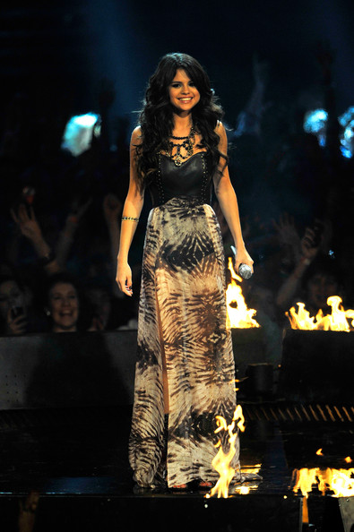 MTV Europe Music Awards hostess Selena Gomez appears onstage during the MTV Europe Music Awards 2011 live show at the Odyssey Arena on November 6, 2011 in Belfast, Northern Ireland.