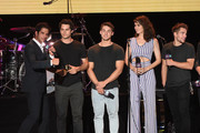 (L-R) Tyler Posey, Dylan O'Brien, Cody Christian, Shelley Hennig, and Dylan Sprayberry, speak  onstage during MTV Fandom Fest at PETCO Park on July 21, 2017 in San Diego, California.