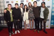 Actor Dylan Sprayberry, Cody Christian, Tyler Posey, Arden Cho, Shelley Hennig, Dylan O'Brien and Khylin Rhambo attend the MTV Teen Wolf Los Angeles Premiere Party on December 20, 2015 in Hollywood, California.