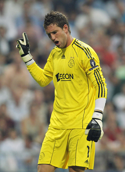 Maarten Stekelenburg Maarten Stekelenburg of Ajax reacts during the UEFA Champions League group G match between Real Madrid and AFC Ajax at Estadio Santiago Bernabeu on September 15, 2010 in Madrid, Spain.