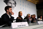 "(L-R) Actors Nicholas Hoult, Charlize Theron, director George Miller, actor Tom Hardy, producer Doug Mitchell and guest attend the ""Mad Max: Fury Road"" press Conference during the 68th annual Cannes Film Festival on May 14, 2015 in Cannes, France."