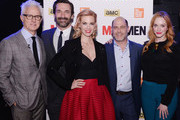 "(L-R)  John Slattery, Jon Hamm, January Jones, creator Matthew Weiner, and Christina Hendricks attend the ""Mad Men"" special screening at The Film Society of Lincoln Center on March 21, 2015 in New York City."