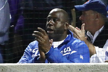 Magic Johnson NLCS - Los Angeles Dodgers v Chicago Cubs - Game One