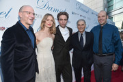 """David Zellner, Mia Wasikowska, Robert Pattinson, Robert Forster and Nathan Zellner attend the premiere of Magnolia Pictures' """"Damsel"""" at ArcLight Hollywood on June 13, 2018 in Hollywood, California."""
