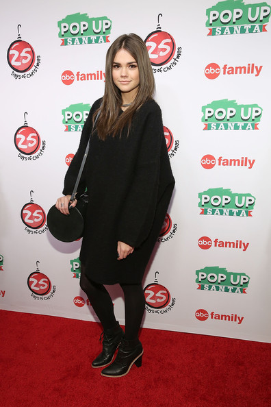 """ABC's """"25 Days Of Christmas"""" Celebration [25 days of christmas,clothing,carpet,red carpet,footwear,joint,premiere,flooring,outerwear,tights,long hair,maia mitchell,cucina,new york city,rockerfellar center,abc,celebration]"""