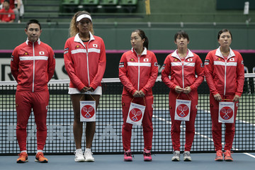 Makoto Ninomiya Japan vs. Great Britain - Fed Cup World Group II Play-Off - Day 1