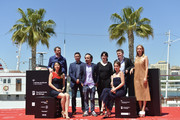 "Spanish actors Barbara Goenaga, Julian Villagran, producer Jose Alba, director Koldo Serra, producer Nahikari Ipina, actress Maria Valverde, producer Carlos Clavijo and  actress Ingrid Garcia Jonsson attend ""Gernika"" photocall during the 19th Malaga Film Festival on April 26, 2016 in Malaga, Spain."
