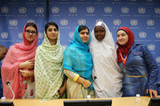 (L-R) Kainat Riaz, Shazia Ramzan, Malala Yousafzai, Amina Yusuf and Salam Masri pose for a photo at a press conference during the United Nations General Assembly at the United Nations on September 25, 2015 in New York City.