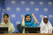 (L-R) Shazia Ramzan, Malala Yousafzai and Amina Yusuf speak at a press conference during the United Nations General Assembly at the United Nations on September 25, 2015 in New York City.