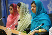 (L-R) Kainat Riaz, Shazia Ramzan and Malala Yousafzai speak at a press conference during the United Nations General Assembly at the United Nations on September 25, 2015 in New York City.