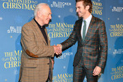 """Christopher Plummer (L) and Dan Stevens attend """"The Man Who Invented Christmas"""" New York screening at Florence Gould Hall on November 12, 2017 in New York City."""