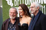 """Terry Gilliam, Olga Kurylenko and Jonathan Pryce attend the European Premiere """"The Man Who Killed Don Quixote"""" and Laugh Gala at the 62nd BFI London Film Festival on October 16, 2018 in London, England."""