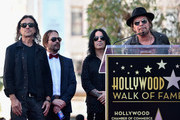 Musicians Juan Calleros, Sergio Vallin, Alex Gonzalez and Fher Olvera of the Mexican rock band Maná attend a ceremony honoring them with the 2,573rd Star on the Hollywood Walk of Fame on February 10, 2016 in Hollywood, California.