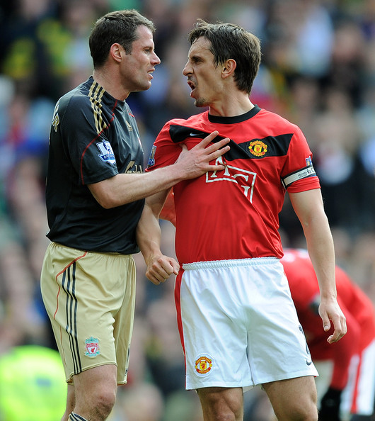 Jamie Carragher Jamie Carragher (L) of Liverpool argues with Gary Neville of