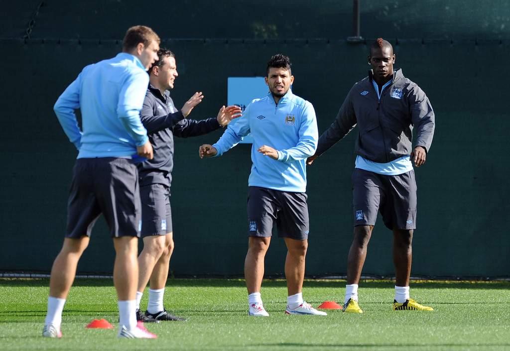 sergio aguero in manchester city training and press conference zimbio. Black Bedroom Furniture Sets. Home Design Ideas