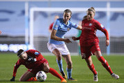 Jill Scott of Manchester City Women is tackled by Kosovare Asllani and Filippa Angeldahl of Linkoping during the UEFA Women's Champions League quarter final, first leg match between Manchester City Women and Linkoping at The Academy Stadium on March 21, 2018 in Manchester, England.
